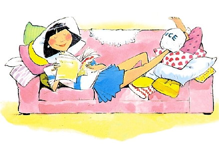 Cartoon illustration of young woman on couch with foot elevated and ice pack on her ankle.